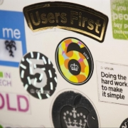 Laptop with GDS stickers