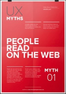 UX myths poster saying 'People read on the web'